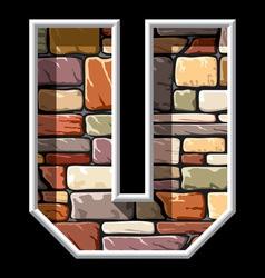 stone letter U vector image