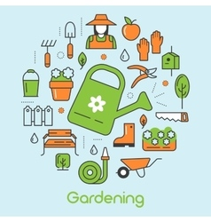 Gardening Thin Line Icons Set with Flowers vector image vector image