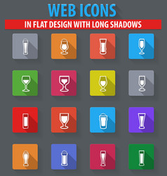 glasses and cups icons set vector image
