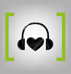 headphones with heart black scribble icon vector image vector image