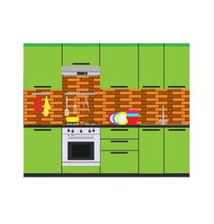 kitchen interior room home furniture flat vector image