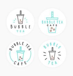 set of bubble tea badges vector image