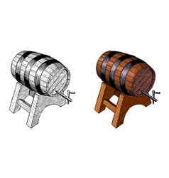 wooden beer barrelt hand ink drawing vector image vector image