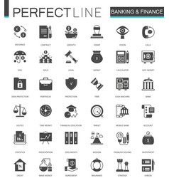 black classic banking and finance web icons set vector image vector image