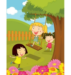 Cartoon of kids in the park vector image vector image