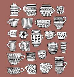 hand drawn doodle cups vector image