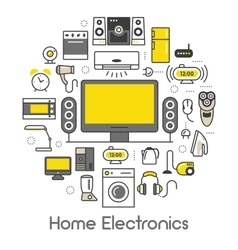 Home Electronics Appliances Thin Line Icons Set vector image vector image