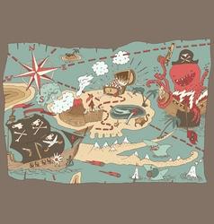 Island Treasure Map pirate map vector image