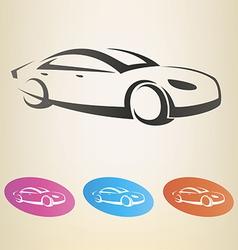 modern car outlined symbol vector image vector image