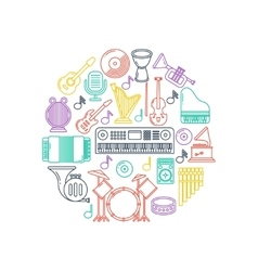 music poster with musical instruments line vector image