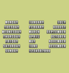 number weekly and month calendar vector image