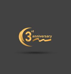 3 years anniversary logotype with double swoosh vector