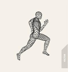3d running man design for sport business science vector