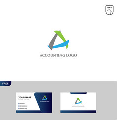 Accounting logo design and business card template vector