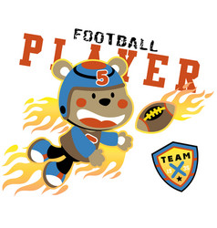 Animal rugby player with flame cartoon vector