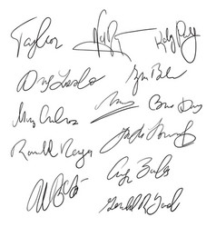 Autographs handwritten pen signatures for delivery vector