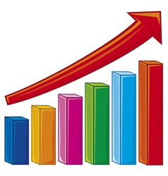 bar graph-increase diagram vector image