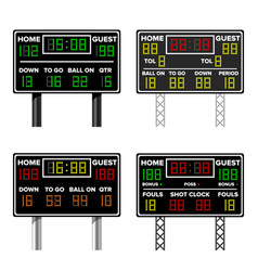 basketball scoreboard time guest home vector image