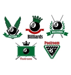 Billiard and poolroom emblems or icons vector image
