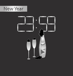 black and white style icon of champagne christmas vector image