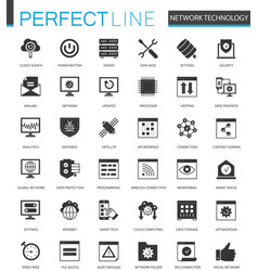 Black classic network technology icons set for web vector