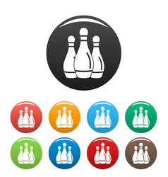 Bowling skittles icons set color vector