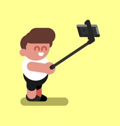 Boy makes selfie vector