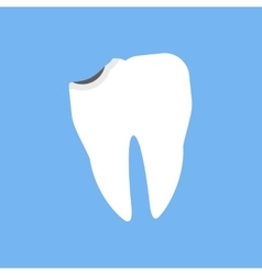 Broken White Tooth Design Flat vector image