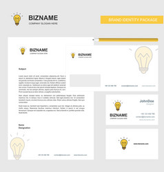 bulb business letterhead envelope and visiting vector image