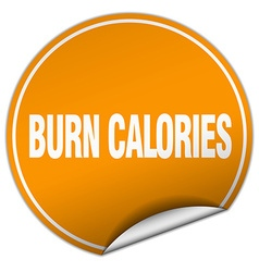 Burn calories round orange sticker isolated on vector