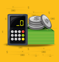calculator bills and coins over yellow background vector image