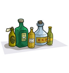 cartoon colorful different glass bottles vector image