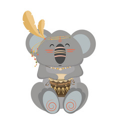 Cartoon koala indian a vector