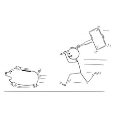 cartoon of angry man or businessman chasing vector image