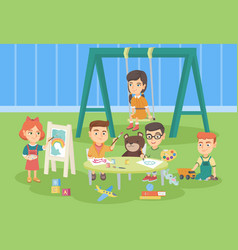 caucasian children playing in the playground vector image