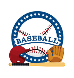 Circle sticker with baseball sport equipment vector
