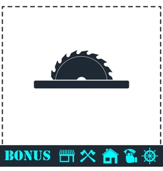 Circular saw blades icon flat vector