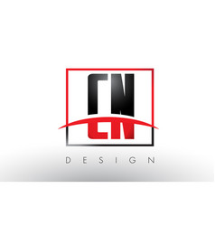 Cn c n logo letters with red and black colors and vector