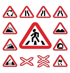 color traffic auto signs set vector image