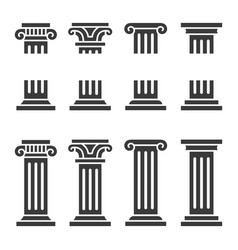 columns icon set ancient architecture pillars vector image