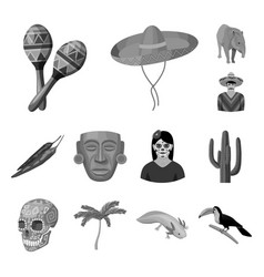 Country mexico monochrome icons in set collection vector