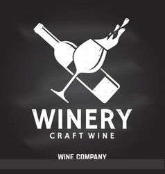 Craft wine winery company badge sign or label vector