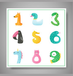 Cute animal numbers from 1 to 9 baby invitation vector