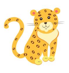Cute jaguar cartoon flat sticker or icon vector