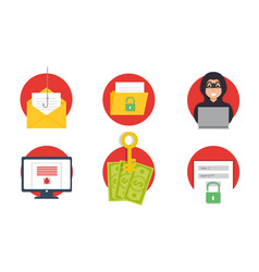 Cyber crime hacking icons set phishing vector