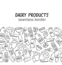dairy product seamless border vector image