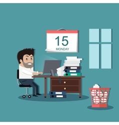 Deadline Design Concept Flat Interior Man vector