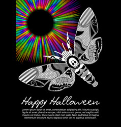 Deaths head hawkmoth on halloween flyer on black vector