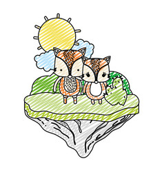 doodle couple fox animal in the float island vector image