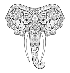 entangle stylized ethnic indian elephant vector image